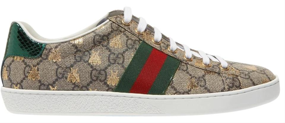 6192539b2 Gucci Ace Gg Supreme Metallic Watersnake-trimmed Printed Coated-canvas  Sneak Sneakers