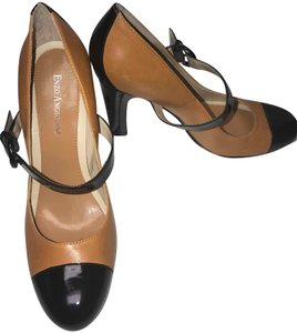 Enzo Angiolini Patent Leather Two-tone Mary Jane Fall Black and Tan Pumps