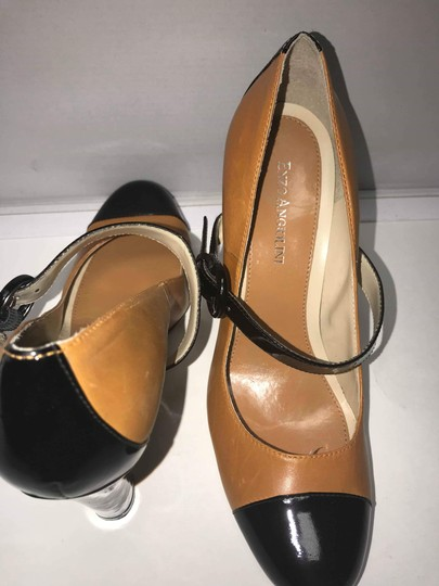 Enzo Angiolini Patent Leather Two-tone Mary Jane Fall Black and Tan Pumps Image 2