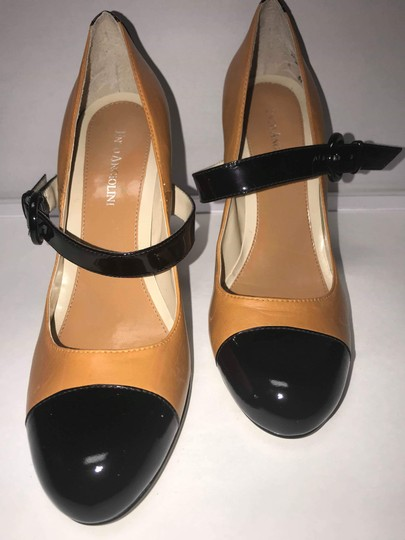Enzo Angiolini Patent Leather Two-tone Mary Jane Fall Black and Tan Pumps Image 4