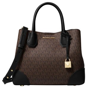 Michael Kors Canvas 30h8gz5s5v Black/Brown Satchel in Black/Brown