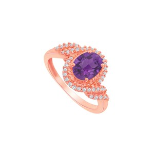 DesignByVeronica Amethyst and CZ Swirl Shape Ring in 14K Rose Gold
