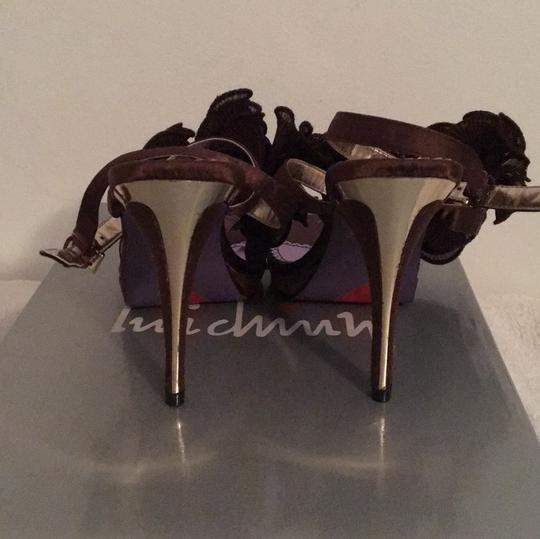 Luichiny Ruffle Brown Satin w/gold accents Pumps Image 3