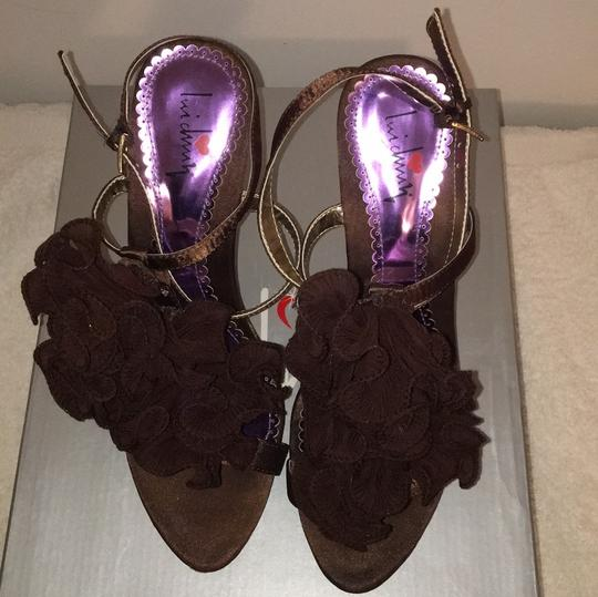 Luichiny Ruffle Brown Satin w/gold accents Pumps Image 4