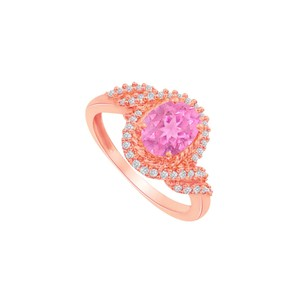 DesignByVeronica Pink Sapphire and CZ Swirl Shape Ring in Rose Gold
