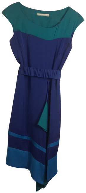 Item - Blue Color Blocked Long Work/Office Dress Size 6 (S)