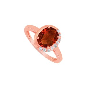 DesignByVeronica Cool Garnet and CZ Engagement Ring in 14K Rose Gold