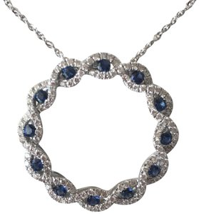 14k WHITE GOLD DIAMOND AND BLUE SAPPHIRE PENDANT 14K WHITE GOLD DIAMOND AND BLUE SAPPHIRE PENDANT