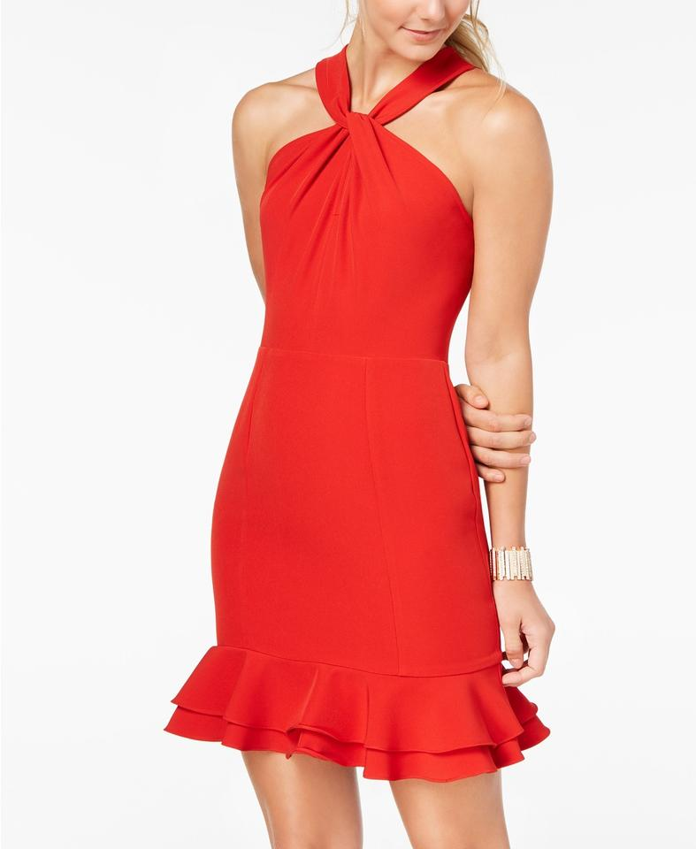 19 Cooper Red L Open Lace Back Sheath Mid Length Cocktail Dress Size 12 L 66 Off Retail
