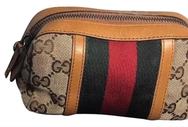 Item - Brown Red & Green Canvas Web / Pouch Cosmetic Bag