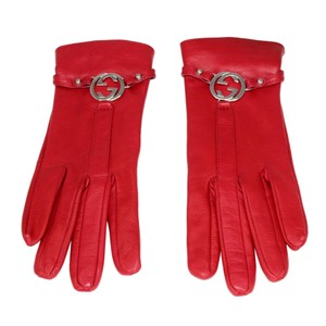 Gucci Leather Gloves with Silver GG Hardware