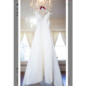 Amsale Silk White Cory Modern Wedding Dress Size 12 (L)