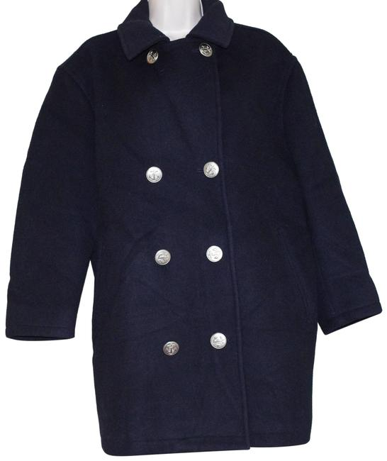 Item - Navy Blue Wool Blend Double Breasted Silver Button Women's Coat Size Petite 10 (M)