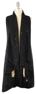 Alice + Olivia Sequin Cotton Knit Hi/Low Tunic Vest Sweater