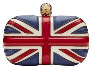 Alexander McQueen Gold-tone white ,blue and red Clutch