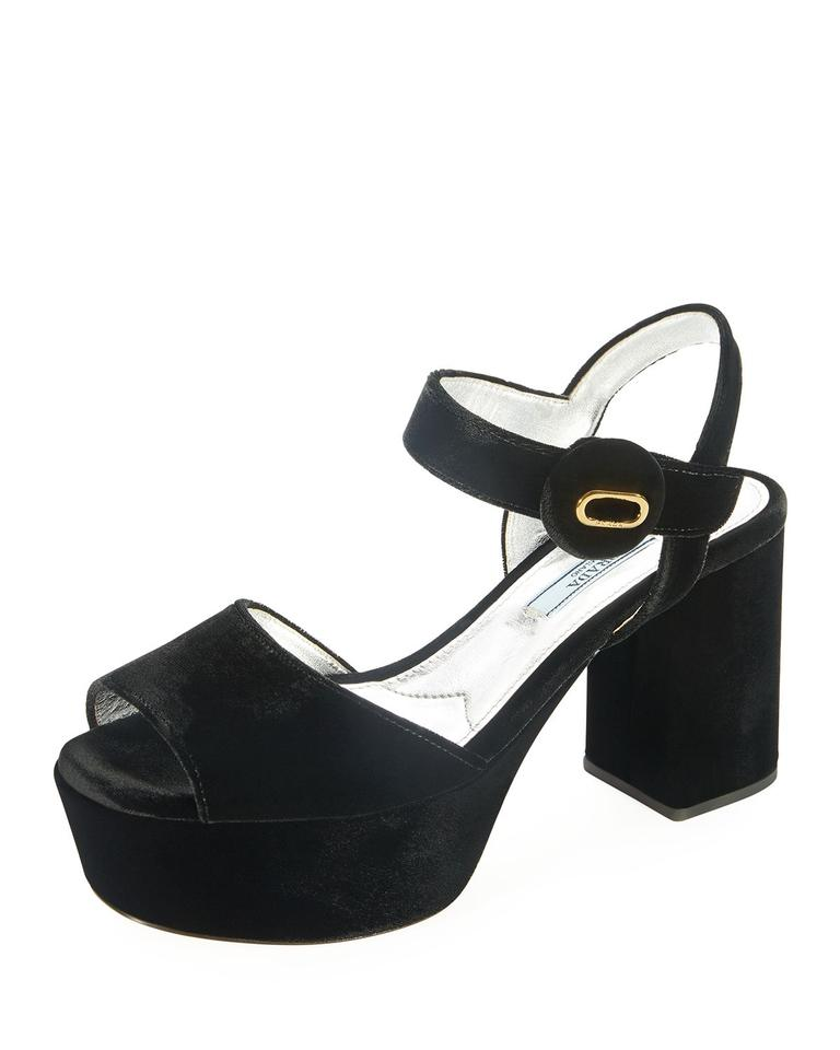 2a39f4e6a82 Prada Black Chunky Heel Suede Sandals Platforms Size EU 40 (Approx. US 10)  Regular (M, B) 30% off retail