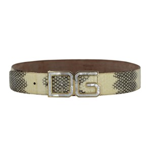 Dolce&Gabbana Python Belt w/ Mother of Pearl DG Gold-Tone Buckle - 90/36