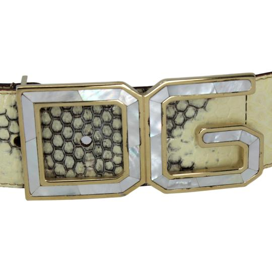 Dolce&Gabbana Python Belt w/ Mother of Pearl DG Gold-Tone Buckle - 90/36 Image 2