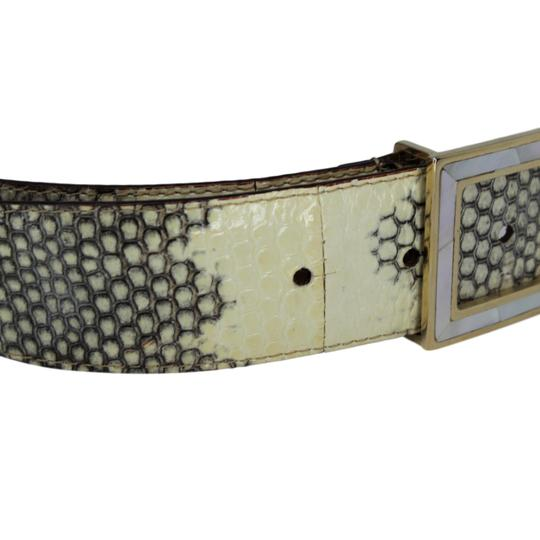 Dolce&Gabbana Python Belt w/ Mother of Pearl DG Gold-Tone Buckle - 90/36 Image 5