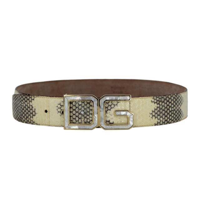 Dolce&Gabbana Ivory & Grey W Python W/ Mother Of Pearl Dg Gold-tone Buckle - 90/36 Belt Dolce&Gabbana Ivory & Grey W Python W/ Mother Of Pearl Dg Gold-tone Buckle - 90/36 Belt Image 1