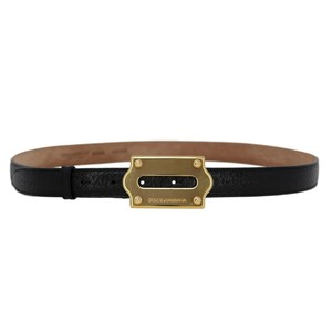 Dolce&Gabbana Pebbled Leather Skinny Belt w/ Gold-Plated Logo Plaque Buckle - 90/36