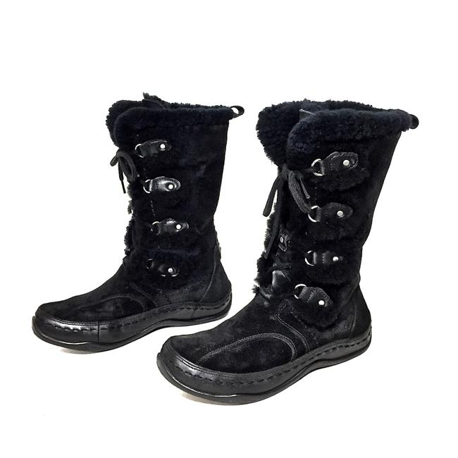 Item - Black Embroidered Sheepskin Up Midcalf Snowboots Boots/Booties Size US 7 Regular (M, B)