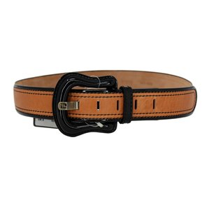 Fendi Leather & Black Patent Leather Buckle & Trim Belt - 85/34