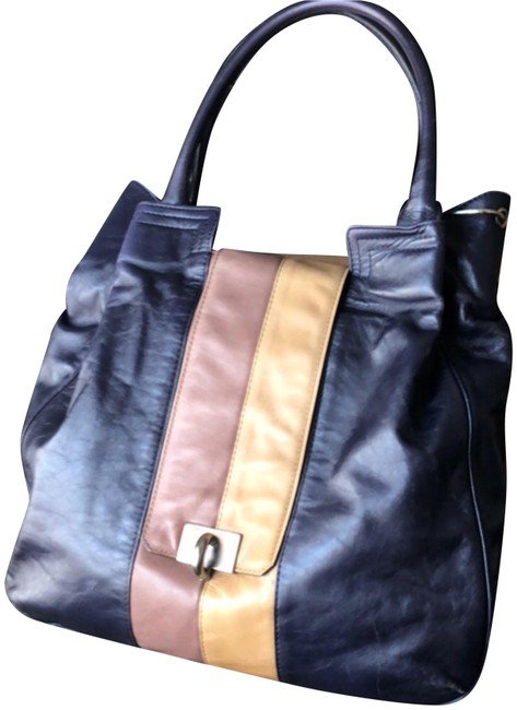 Item - Color-block Blue/Purple Tan and Beige Leather Tote