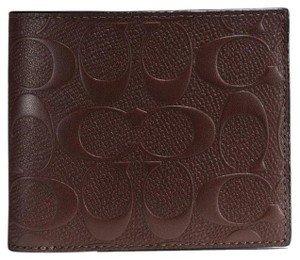 Coach COACH F 75371 COMPACT ID WALLET IN SIGNATURE CROSSGRAIN LEATHER