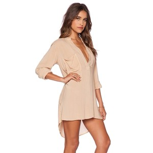 Blue Life Blue Life Tan Soft Flowy Shirt Dress Coverup