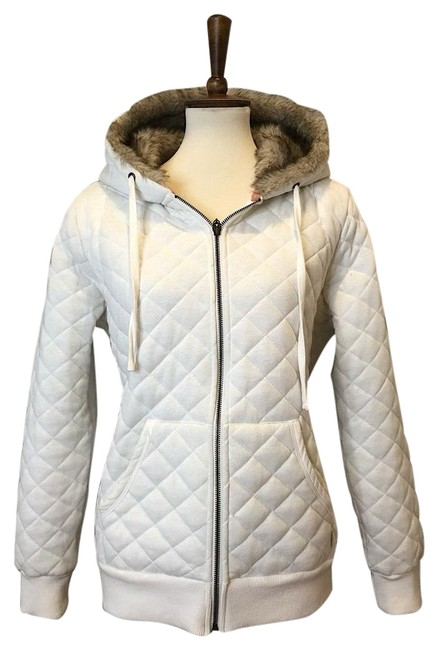 Item - White W Quilted Jacket Zip Up Faux Fur Hood Coat Size 12 (L)