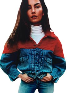 Levi 192379407983 Native Trucker Handloomed Strauss Blue with Red Womens Jean Jacket