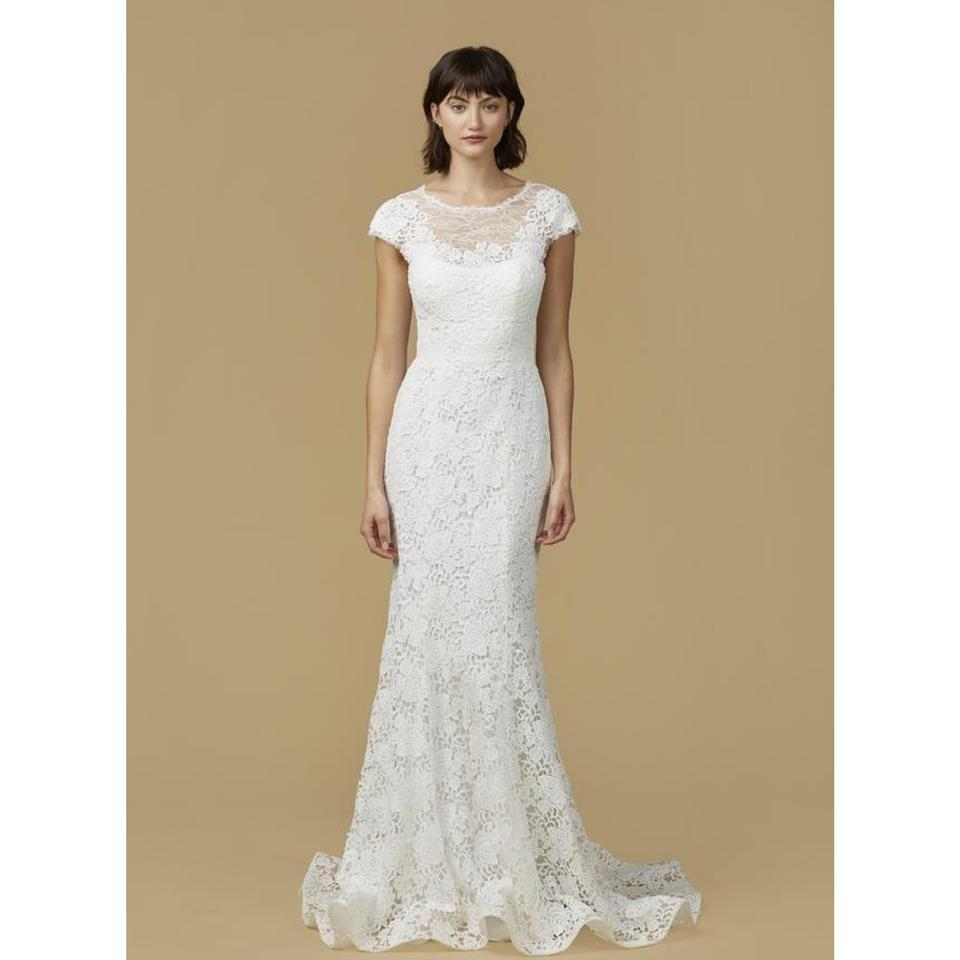 Amsale Juno Lace Mermaid Gown Traditional Wedding Dress