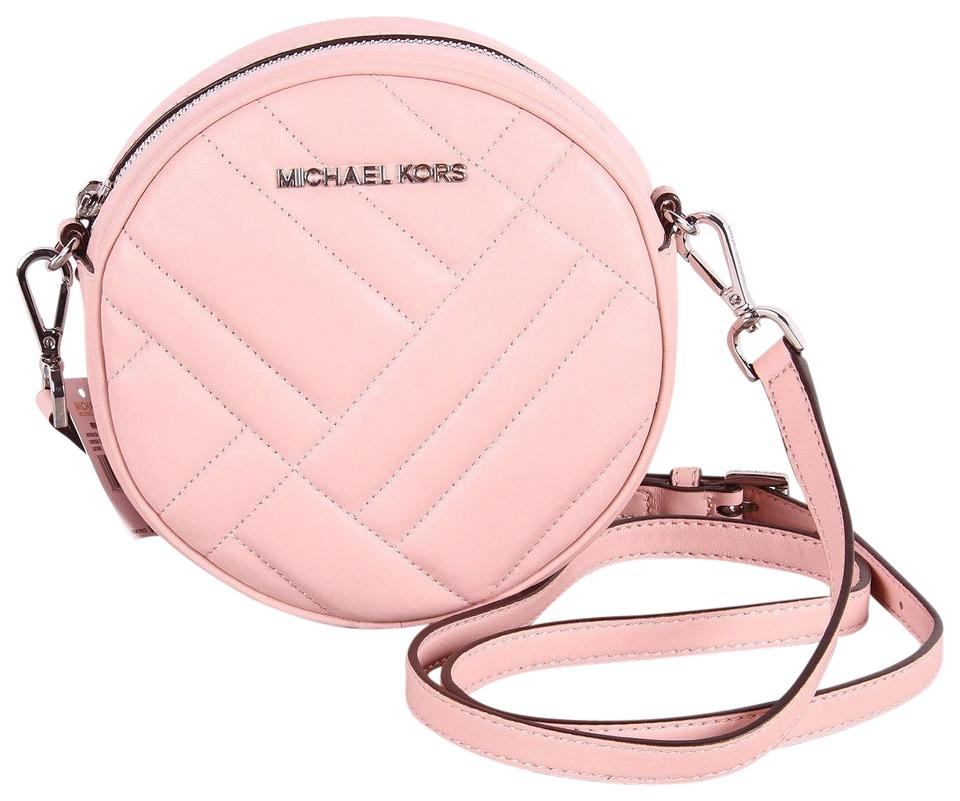b59b18989fde Michael Kors Vivianne Canteen Quilted Petal Pink Leather Cross Body ...