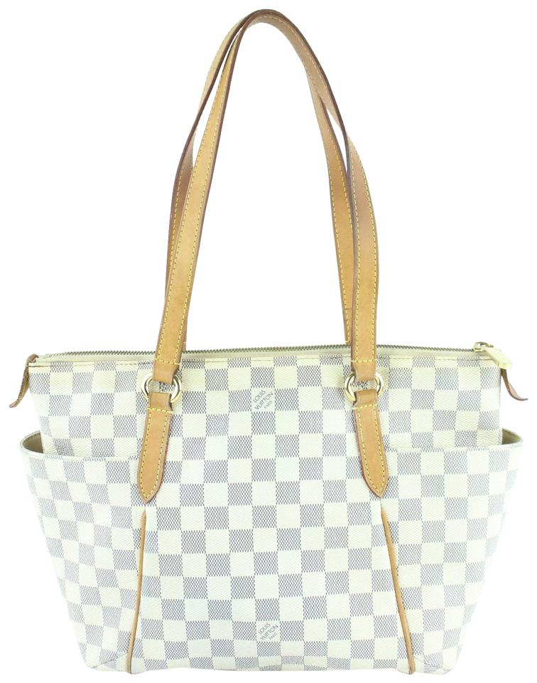 7937b605a0b4 Louis Vuitton Totally Damier Azur Pm Zip 16lz1211 White Coated ...