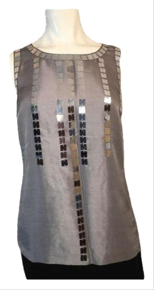 c528ee9527f931 Tory Burch Gray Large Sequin (Sku 000169) Blouse Size 4 (S) - Tradesy