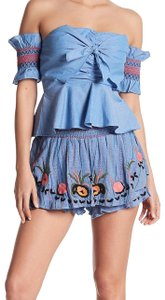 Red Carter Floral Embroidery Colorful Stitching Ruched Stretch Waist Super Whimsical Dress Shorts Blue
