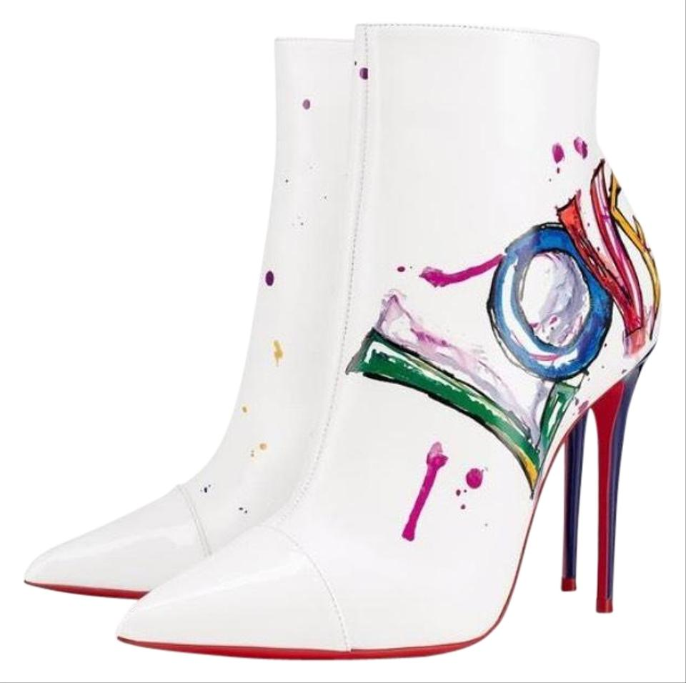 be85b9d584bd Christian Louboutin White In Love Patent Graffiti Stiletto Boots Booties