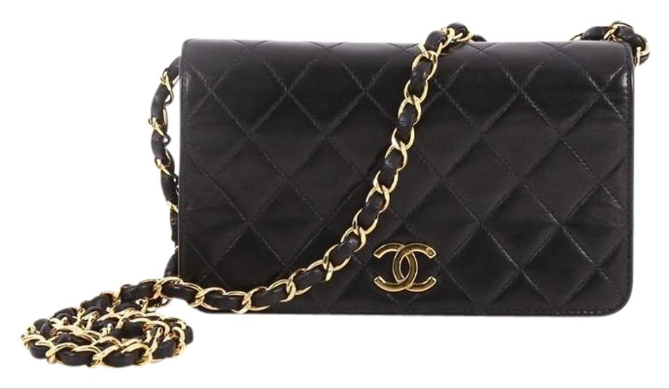 0999f1faa11228 Chanel Classic Flap Vintage Full Quilted Mini Black Lambskin Leather  Shoulder Bag