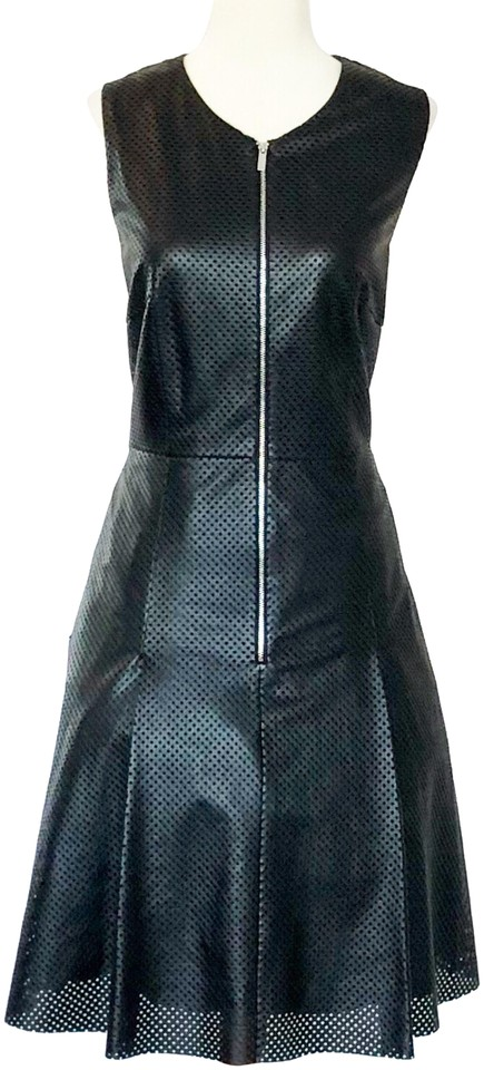 Calvin Klein Black Faux Leather Short Workoffice Dress Size 8 M