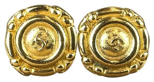 Chanel Chanel Gold Plated Brass CC Logo Circle Clip On Earrings Vintage Sale!