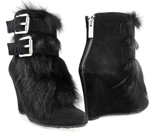 Michael Kors Collection Black Buckled Lamb Fur Ankle Zip Wedge Boots/Booties Size US 5.5 Regular (M, B) Michael Kors Collection Black Buckled Lamb Fur Ankle Zip Wedge Boots/Booties Size US 5.5 Regular (M, B) Image 1