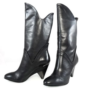 Belle by Sigerson Morrison Leather Pull-on Semi-wedge Western Black Boots
