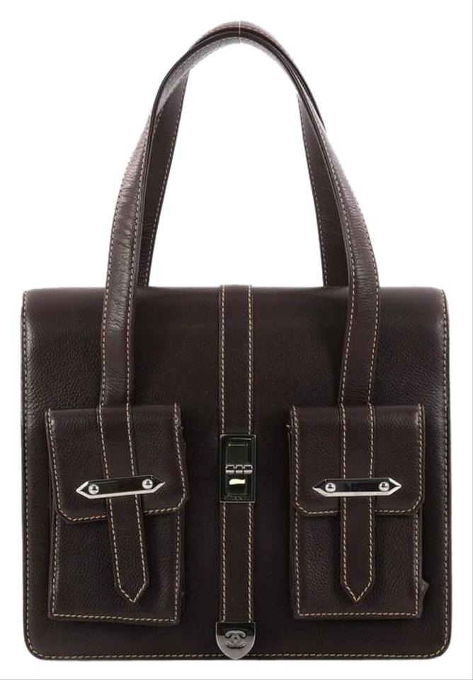 Chanel Classic Flap Mademoiselle Vintage Lock Pocket Caviar Small Dark  Brown Leather Tote 18a0dffbe91ce