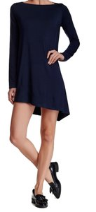 c569d3015b4 Go Couture short dress Blue Boatneck Asymmetrical Hem Super Quality Fabric Long  Sleeves Comfy + Soft