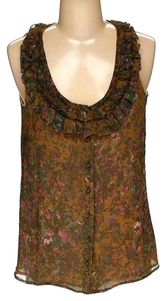 8c61872c52d1c8 J.Crew Floral Blouse Silk Sleeveless Ruffle Collar Floral Top brown and  green Image 0 ...