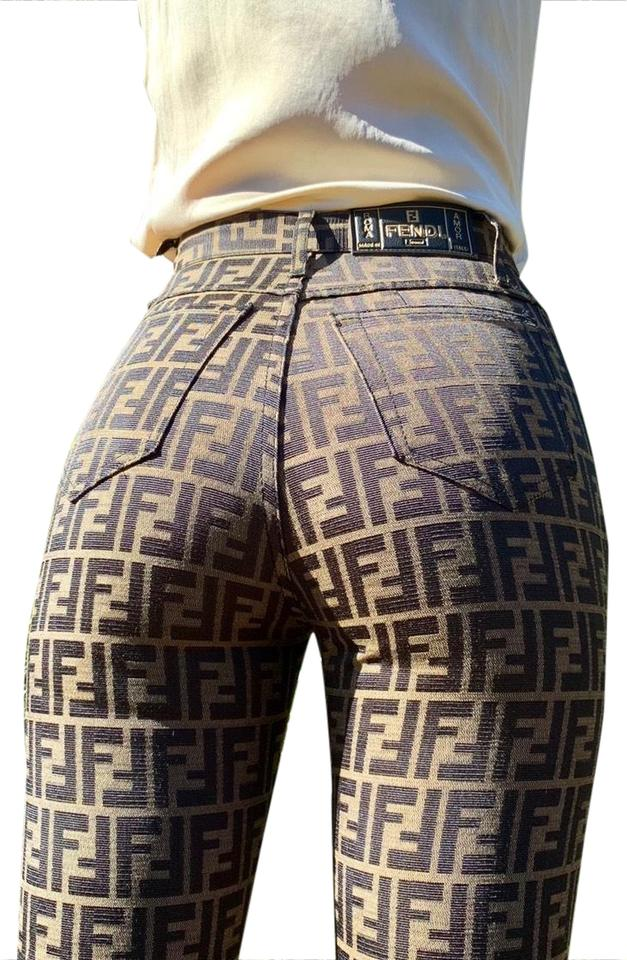 59c6a4a8c91f Fendi Brown Zucca Monogram High Waisted Vintage Pants Size 2 (XS