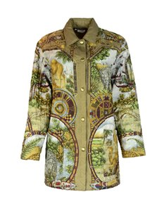 Salvatore Ferragamo Animal Quilted Patterned Multi-Color Jacket