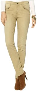 Lauren Jeans Company Light Distressed Mid Rise Zip Pockets Top Stitched Seams Slim Straight Leg Jeans