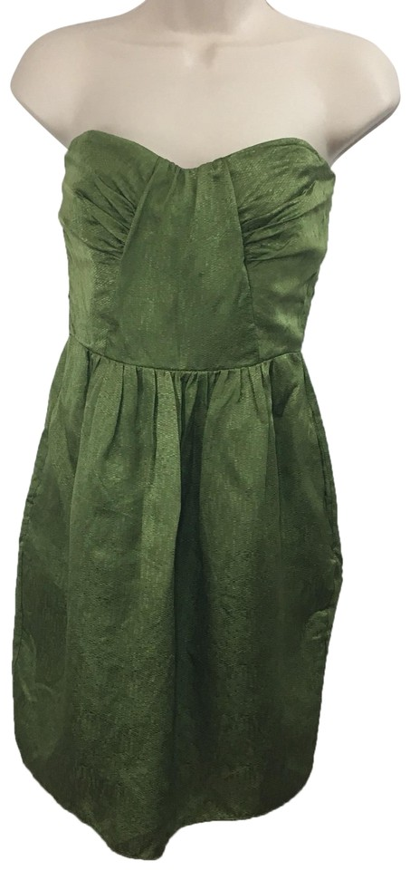 ef7ace11e55 Shoshanna Green Silk Strapless Party Short Cocktail Dress Size 4 (S ...